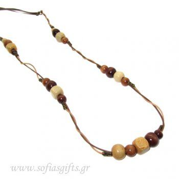 Handmade long necklace with wooden beads and brown satin ribbon - Sofia - handmade jewlery & accessories