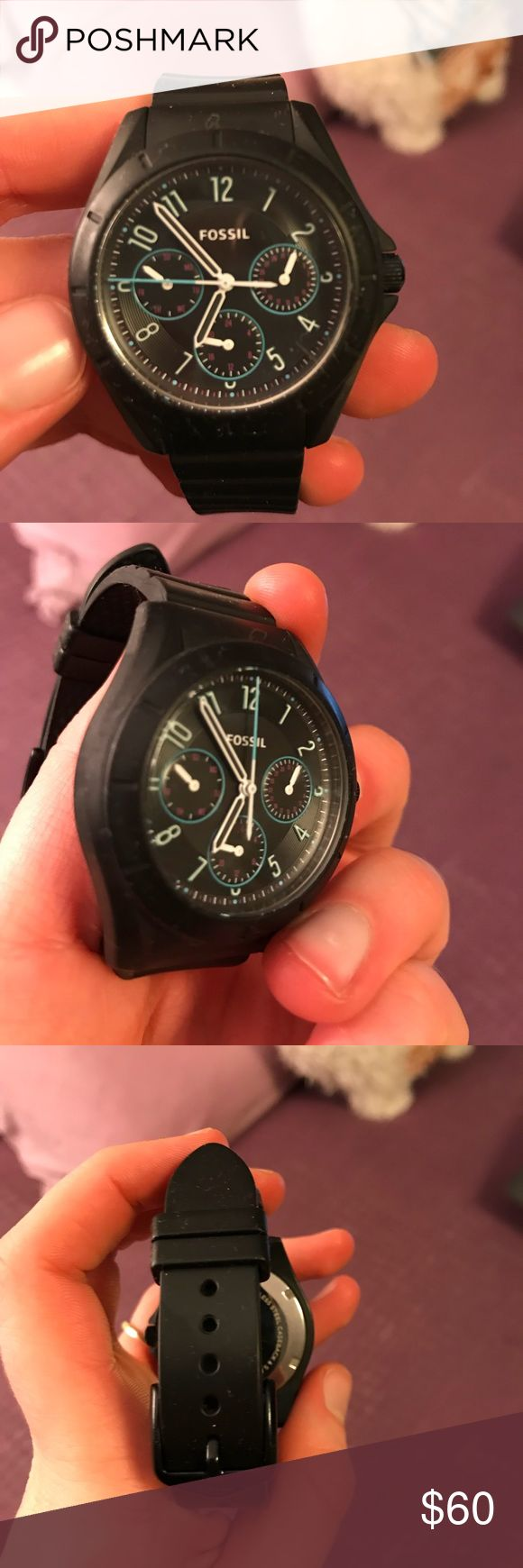 Fossil Watch Black sporty fossil watch, only work a few times, perfect condition Fossil Accessories Watches