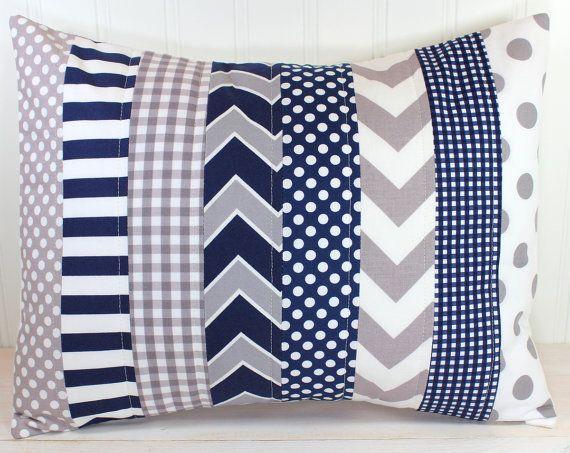 Pillow Cover, Baby Boy Nursery Decor, Patchwork Pillow Cover, Crib Bedding, 12 x 16 Inches, Navy ...