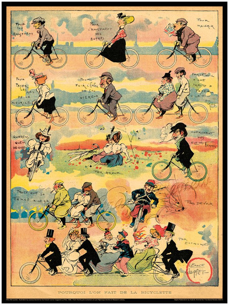 Vintage Bicycle Print - Antique Bikes - Fin De Siècle France - Lovers