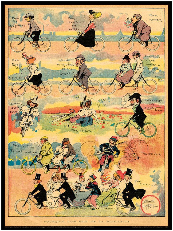 Vintage Bicycle Print - Antique Bikes - Fin De Siècle France - Lovers