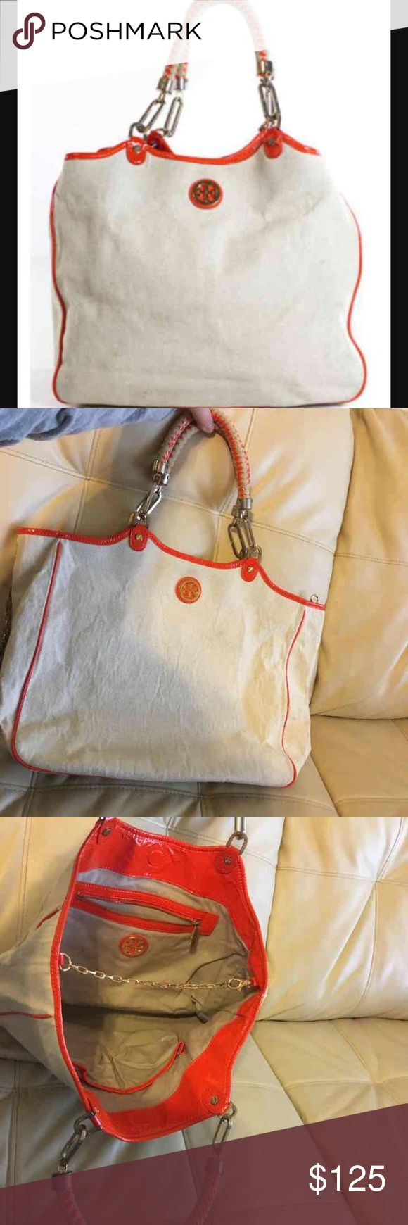 🙀Tory Burch Climbing Rope Channing Tote😻 Tory Burch climbing rope Channing tote. 16x11 very roomy. Some wear on the metal I'm sure it can be polished up see pics.Authentic. Tory Burch Bags Totes