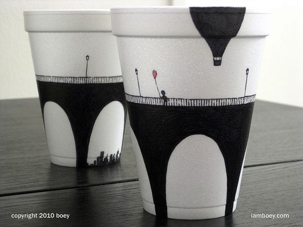 Beautiful Art Drawn on Disposable Cups by artist Cheeming Boey