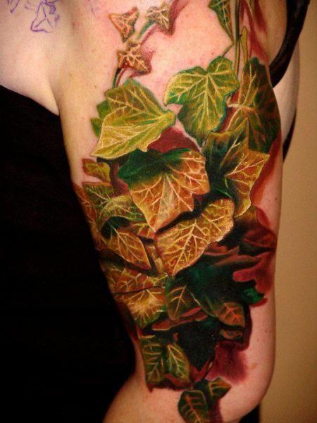 tattooed leaves | Arm Realistic 3d Leaf Leaves Tattoo by Boris Tattoo
