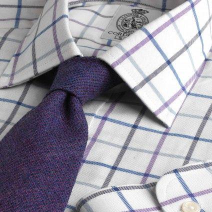 Navy Overcheck Tattersall Shirt | Shirts | Menswear