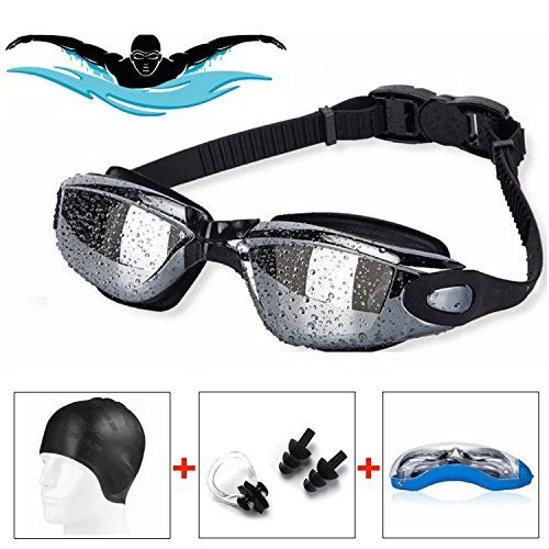 From 13.39 #1 Uzza Pro Swimming Bundle - Swimming Goggles With Silicone Swimming Cap Bundle - Swim Cap  Nose Clip  Ear Plugs  Anti Fog Uv Technology Protected Tinted Lenses Swim Goggles - Suitable For Adults Matured Kids Younger Kids Boys And Girls - 100% Money Back Guarantee