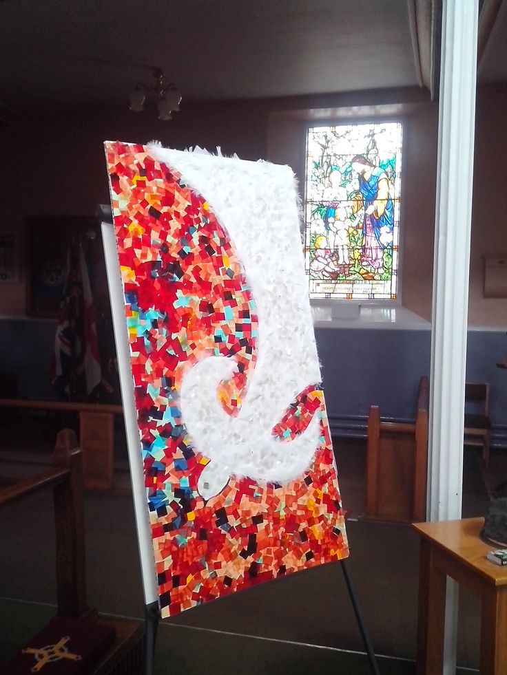 """""""Welcome, Holy Spirit!"""" Made from recycled materials by the parents from  Longton Cenral Hall Messy Church.  What a great piece of art!"""