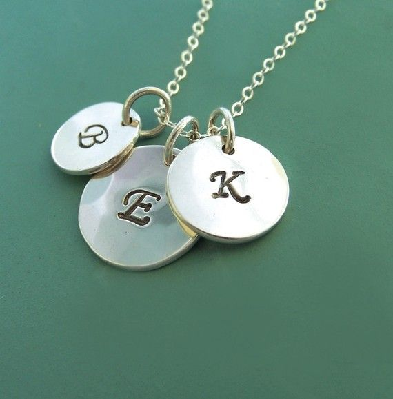 Monogram Necklace - Three Charms  -Sterling Silver by esdesigns