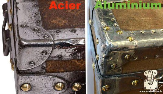 malle en coin acier et aluminium ne pas confondre bagage vuitton