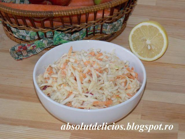 Salata de telina cu morcovi, mar si dressing de iaurt