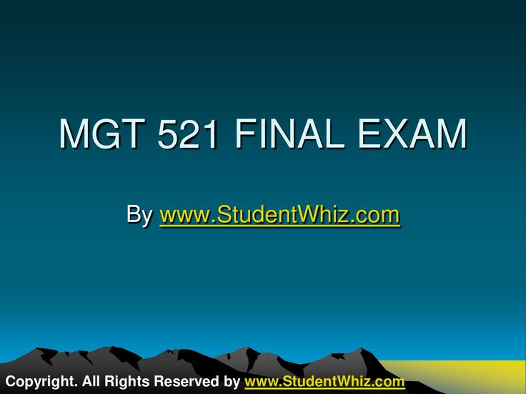 www.StudentWhiz.com The MGT 521 Final Exam Assignment Guide highlighted that many times the vacancy level can be personal, may rest on individual decision, and the market prices can be easily adjusted to meet different expectations.