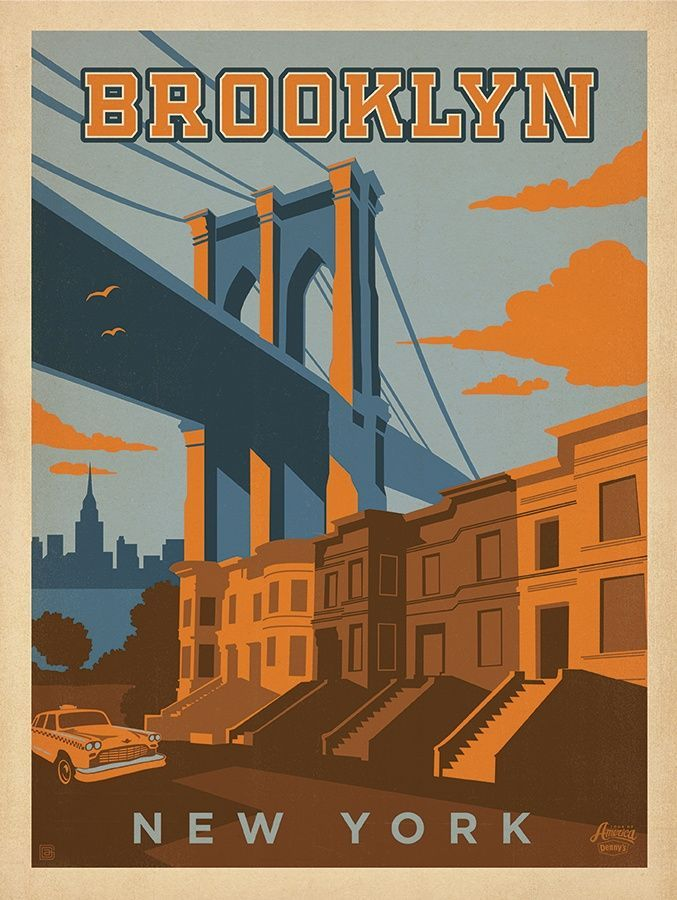 Printable Wall Art, Vintage Map – Old Americas – Instant Download Denny's Tour of America Campaign. Illustrated Poster of Brooklyn, New York.