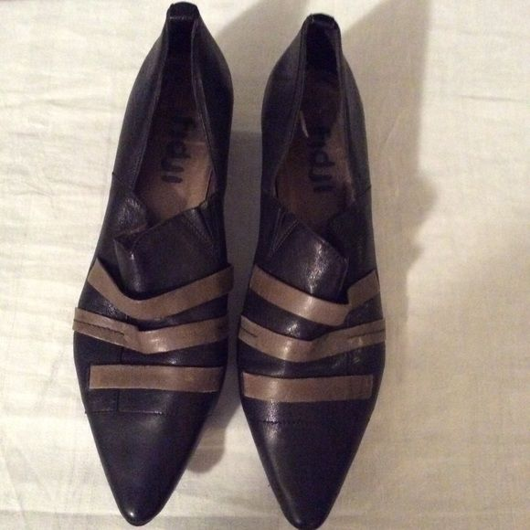Fidji shoes 1 hr sale🎉 Real cute leather fidji shoes black with olive green leather bandage straps across minor scuff on heel but still in good preloved condition Fidji Shoes