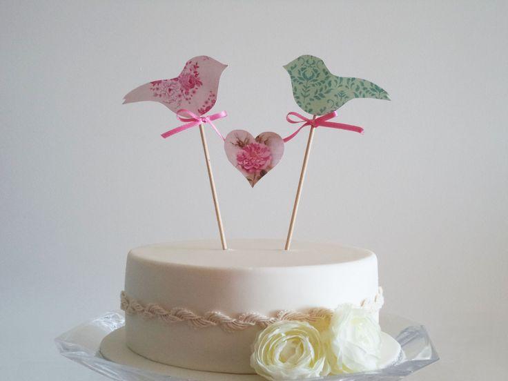 Paper birds cake topper