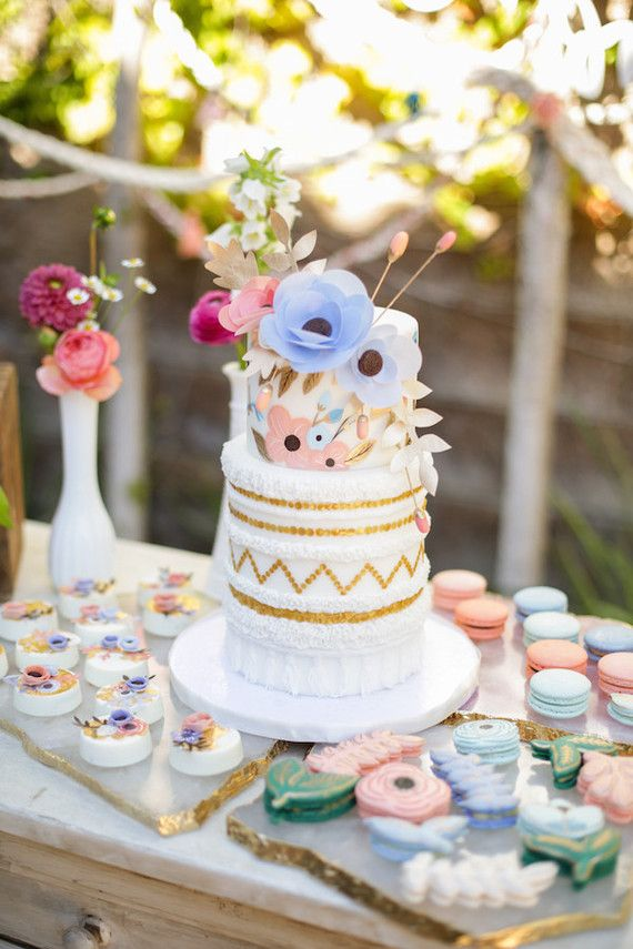 craft ideas homemade bridal shower decoration%0A rifle paper inspired cake at Tinas gender neutral baby shower