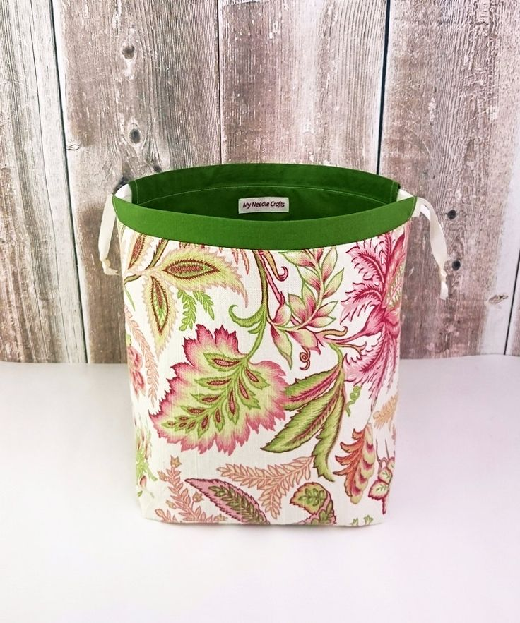 Knitting Bag in Pink Green floral print, Knitting Project Bag for two at a time knitting, Drawstring Organizer. Medium Socksack by MyNeedleCrafts on Etsy