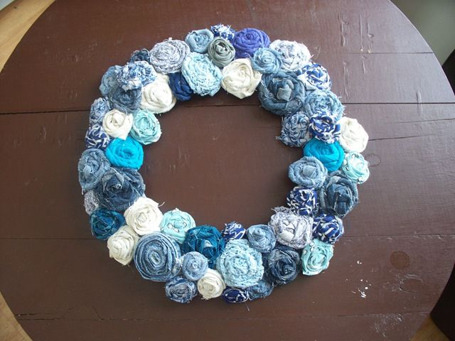 Wreath from leftover fabric bits.  I definitely have an unending supply of those...