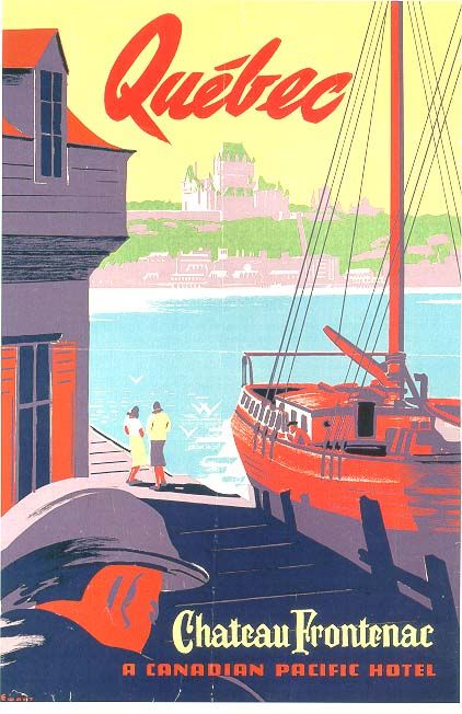 Quebec, Canada * Chateau Fontenac Hotel (1966) vintage travel poster