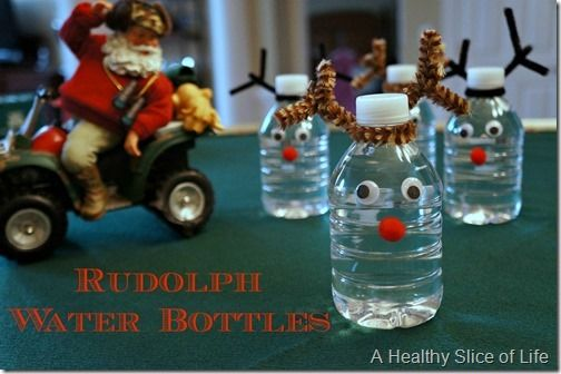 healthy christmas snacks for kids Rudolph water bottles 1 thumb Munchkin Meals Link Up