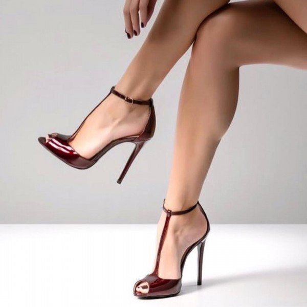 Burgundy Peep Toe Heels Pumps T Strap Stiletto Heel