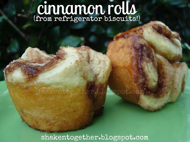 cinnamon rolls from refrigerator biscuits: Mom Baking, Desserts Anymore, Cinnamon Rolls, Refrig Biscuits, Refrigerators Biscuits, Sweet Food, Shaken Together, Breakfast Tables, Breakfast Recipes