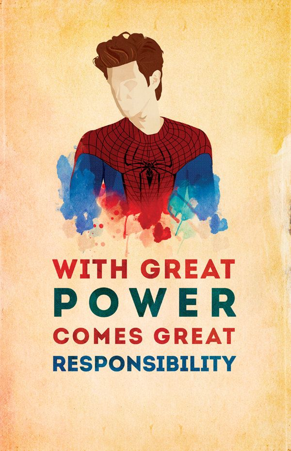 """Spider-man: """"With Great Power Comes Great Responsibility"""" 9 x 14 Print. $14.00, via Etsy."""