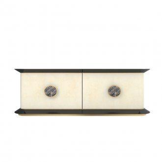 Credenza a quattro ante curvate con maniglia in metallo e decorazione ceramica in abbinamento. Struttura perimetrale in legno laccato nero lucido. Interno in colore a contrasto. Disponibile in diverse combinazioni di finitura.