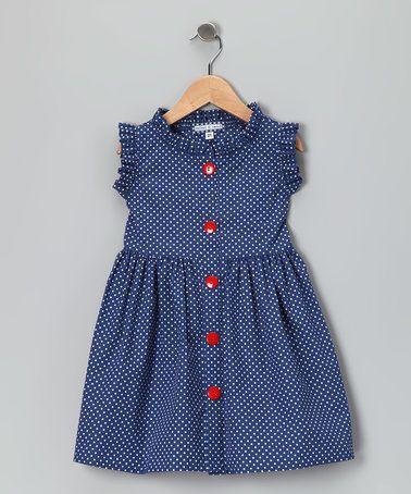 French Blue Polka Dot Picnic Dress - Infant, Toddler & Girls
