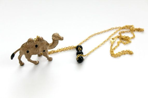 Camel necklace, Polka Dots  gold animal, whimsical necklace