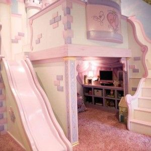 Large The Princess Castle Bunk Bed With Underneath Storage And Tv And Stairs And Slide , The Princess Castle Bedroom In Bedroom Category