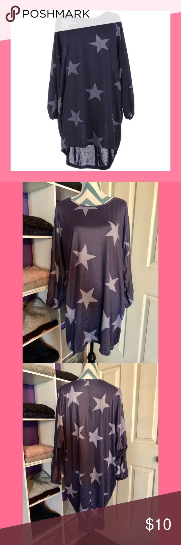 💫 Star Print Batwing Tunic Stylish batwing tunic/dress! Very roomy with the ability to wear it different ways (e.g., looks super cute belted!). Material is a shinny polyester. Blue/grey color with white interior. Boutique Tops Tunics