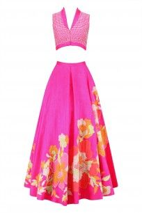 Hot Pink Floral Embroidered Lehenga and Blouse Set