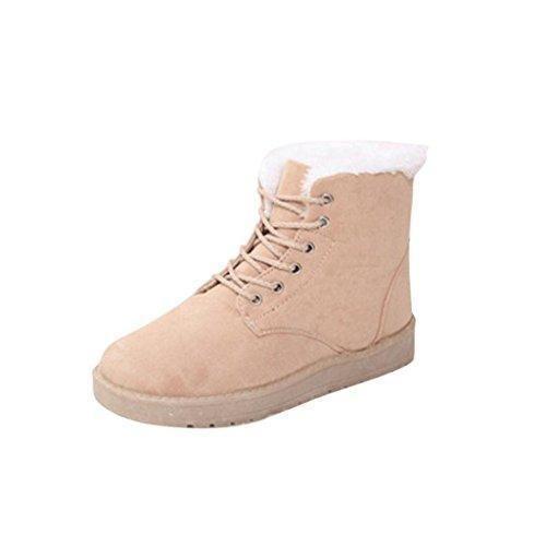 Oferta: 15.8€. Comprar Ofertas de FEITONG Mujer Botas Plano Tobillo Cordón Arriba Pelaje Forrado Invierno Calentar Nieve Zapatos (39, beige) barato. ¡Mira las ofertas!