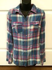 Womens Garage Cree A Montreal Plaid Button Long Sleeve Shirt Blouse Small Flaw   eBay