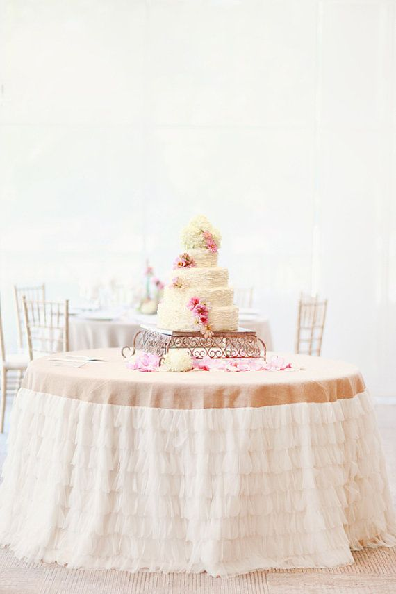 Tulle Ruffled Burlap Tablecloth (available In Custom U0026 Standard Sizes)