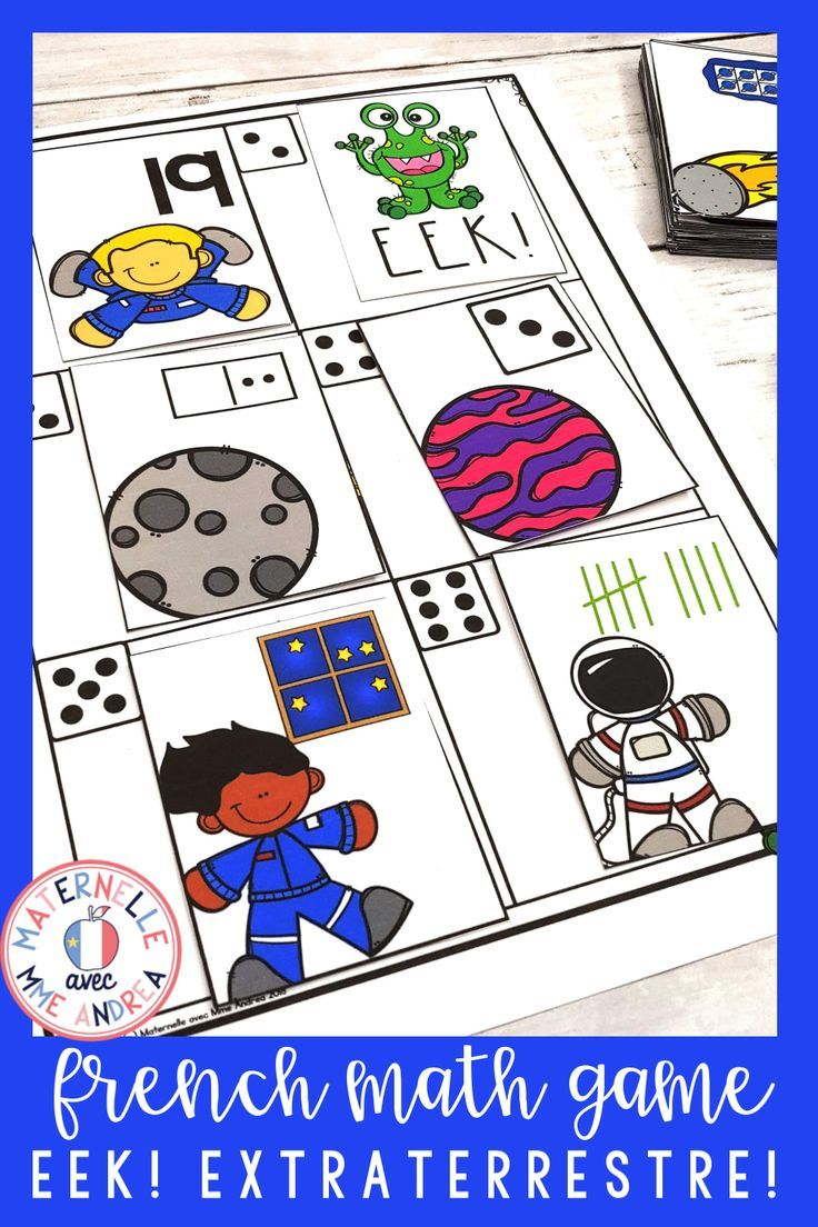Eek Jeu De Mathematiques L Espace French Space Themed Math Game Kindergarten Math Activities Small Groups Literacy Games [ 1104 x 736 Pixel ]