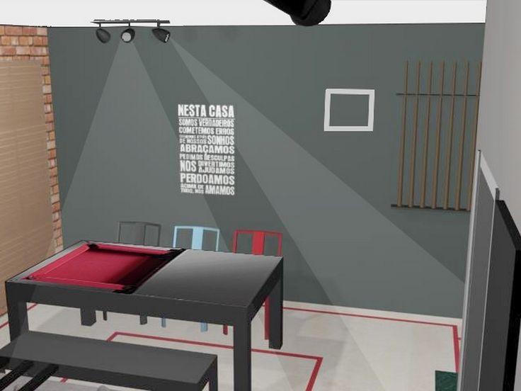 Salas Integradas – Opção 2 de Jogos   – Interiores – projetos Priscilla Borges arquitetura e interiores