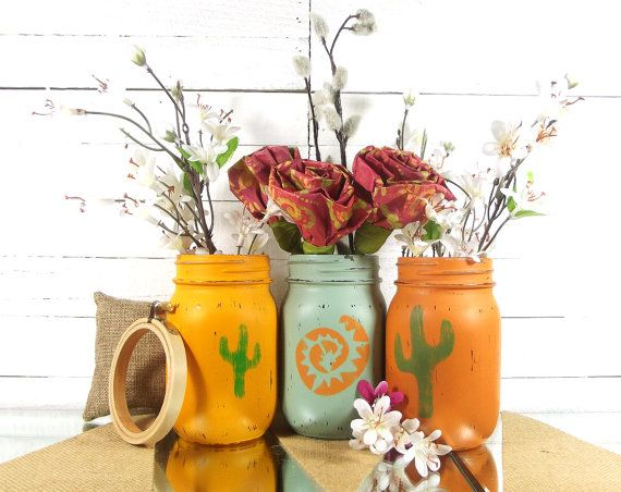 Southwestern Decor Painted Mason Jars Cactus Home by curiouscarrie
