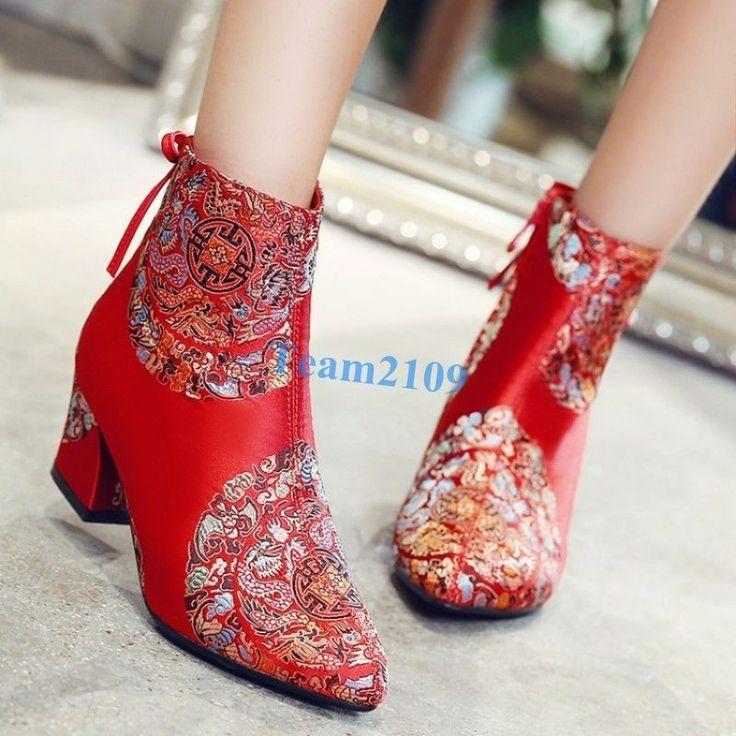 Women's pointed toe zipper block heel ankle boots bow zipper Satin shoes | eBay