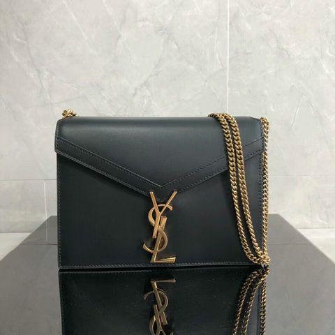 2a8fb827a13 2018 Saint Laurent Cassandra Monogram Clasp Bag in Black Smooth Leather