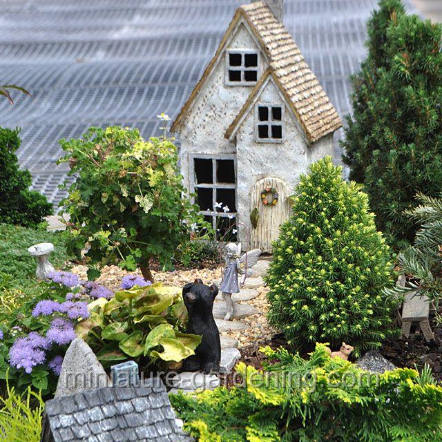 House With Bear And Skipping Fairy: #fairygarden #fairyhouses
