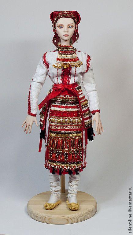 Купить Кукла в национальном мордовском костюме (Эрьзя) - ярко-красный, этно, этническая кукла