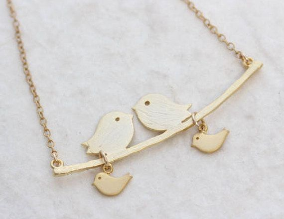 Gold Love Birds Necklace Love birds and Baby bird  Mom and