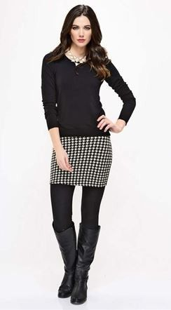 Houndstooth One-Piece Leggings & Skirt