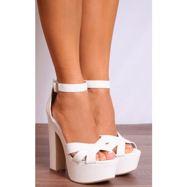 e09757b5736 Shoe Closet White Barely There Strappy Sandals High Heels Platforms ( 38) ❤  liked on