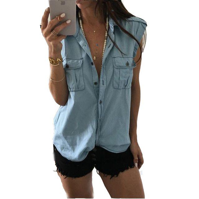2017 Summer Autumn Women Sleeveless Denim Shirts Blouses Blusas Femininas Casual shirt women tops Tumblr Shirt