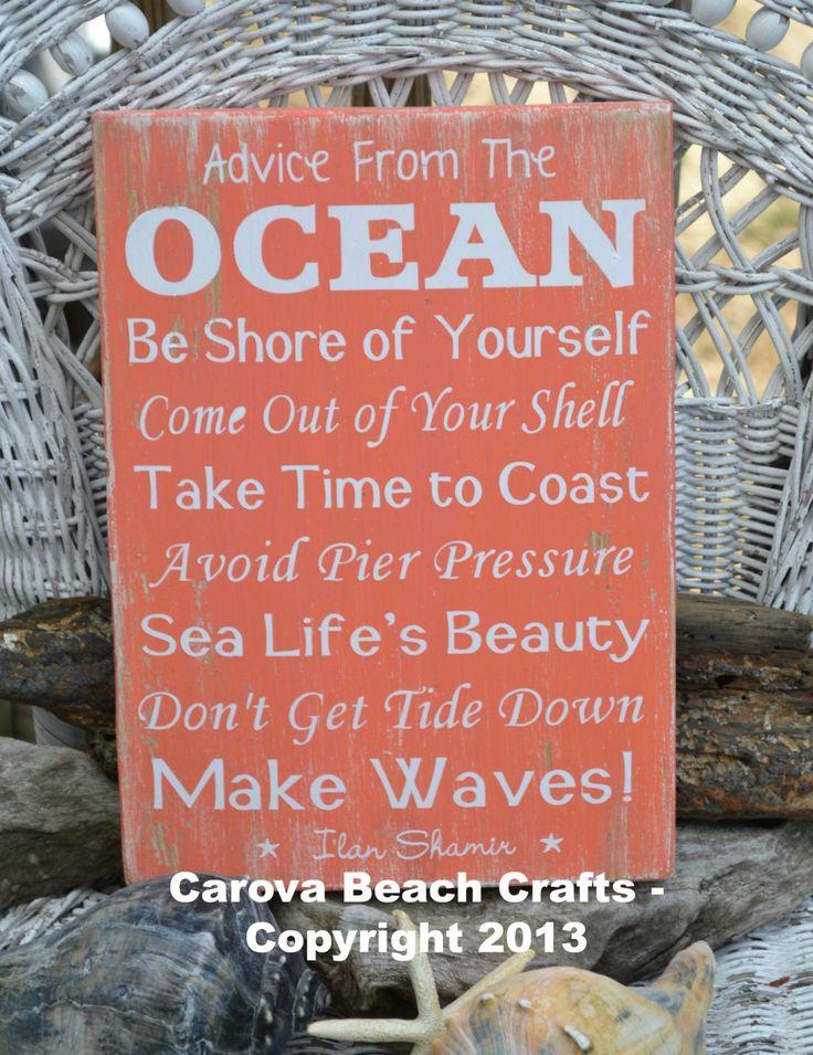 Advice From The Ocean Sign Coral Beach Decor by CarovaBeachSignCo, $40.00