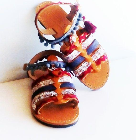Pom pom sandals, Hippie shoes, Greek sandals, Gladiator sandals, Leather shoes, Gift for her, boho sandals, Handmade sandals, flat sandals