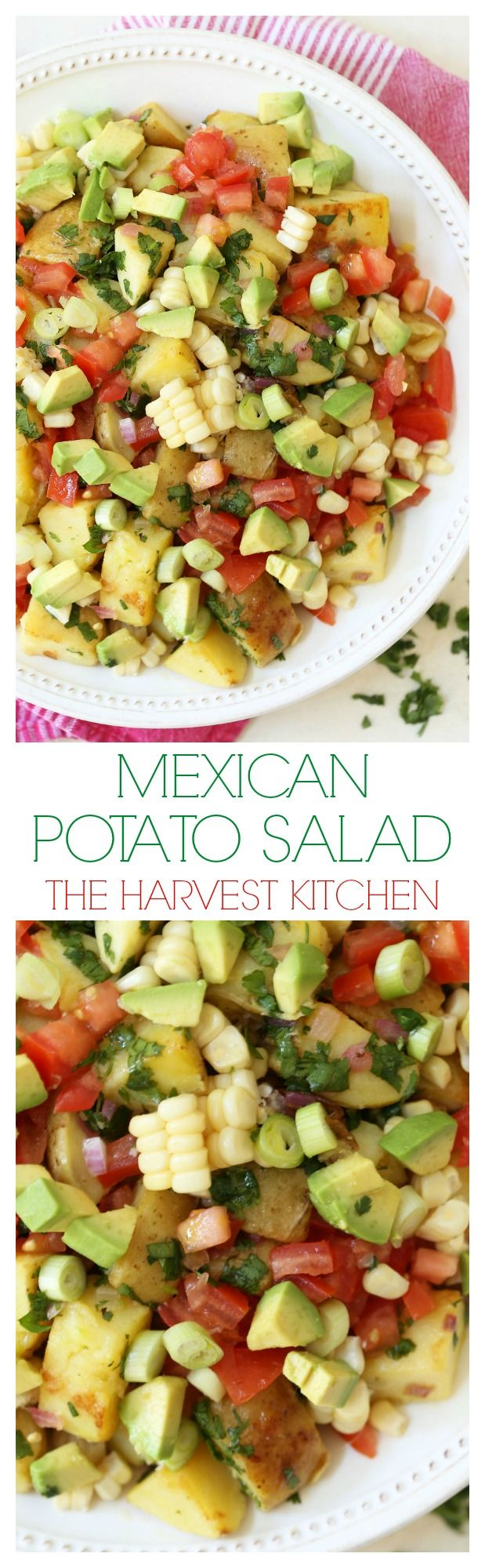 This colorful Mexican Potato Salad is loaded with fresh crunchy corn, tender juicy ripe tomatoes, buttery avocado and perky green onions, then the whole ensemble is perfectly dressed in a cilantro lime vinaigrette. @theharvestkitchen.com