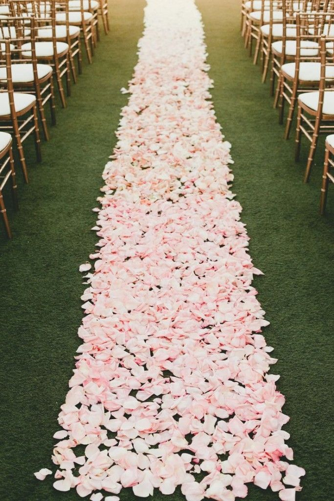 Ombre Pink Rose Petal Ceremony Aisle